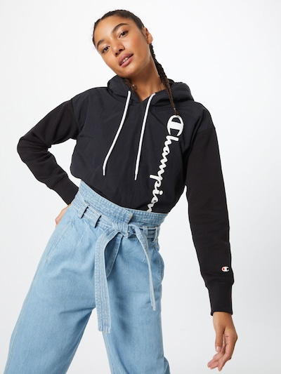 Champion Authentic Athletic Apparel Sweatshirt in de kleur Zwart / Wit: Vooraanzicht