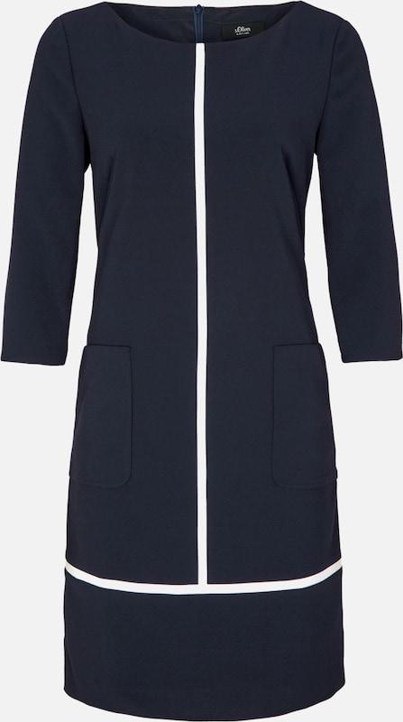 S.Oliver schwarz LABEL Kleid in kobaltblau weiß