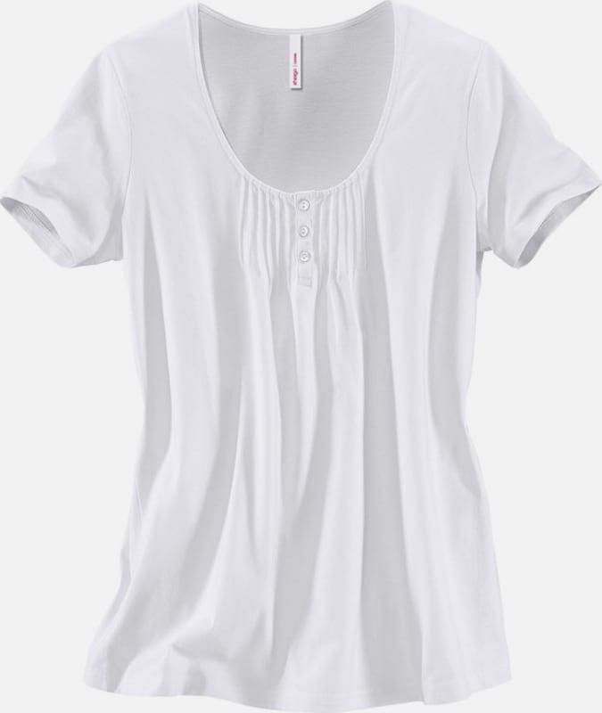 sheego casual Shirt mit süßen Biesen am Ausschnitt