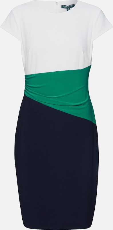 Lauren Ralph Lauren Kleid 'FENTON-CAP SLEEVE-DAY DRESS' in navy / grün / weiß, Produktansicht