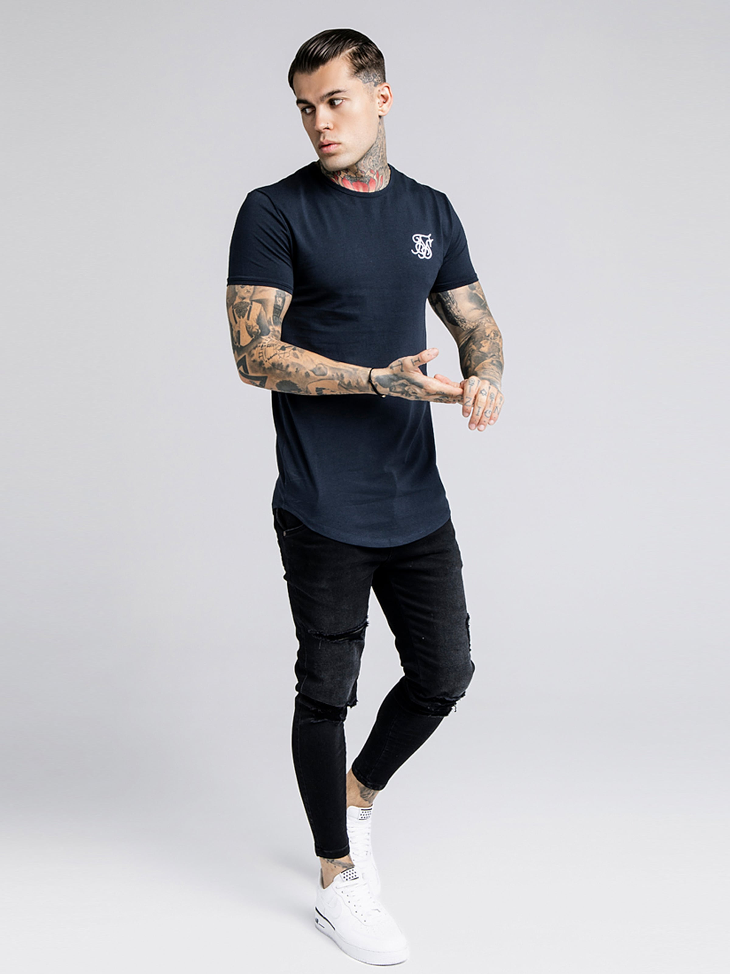 Bleu Marine Siksilk T shirt En IY7gb6vfy