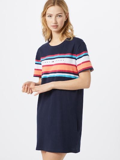 Tommy Jeans Shirtkleid in navy / hellblau / koralle / weiß, Modelansicht