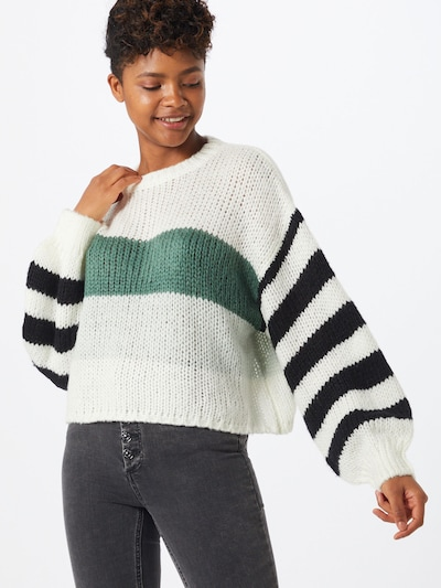 Cotton On Pullover in grün / schwarz / weiß, Modelansicht