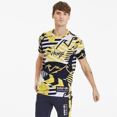 PUMA Red Bull Racing Allover-Print Herren T-Shirt in gelb / schwarz / weiß: Frontalansicht