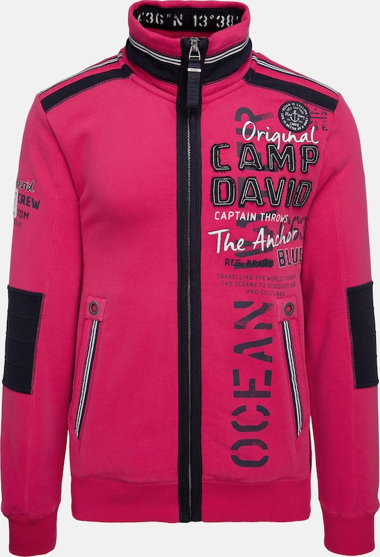 CAMP DAVID Sweatjacke mit Tapes und Label-Applikationen in pink, Produktansicht