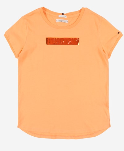 TOMMY HILFIGER Shirt 'TOMMY FOIL LABEL TEE S/S' in de kleur Sinaasappel, Productweergave