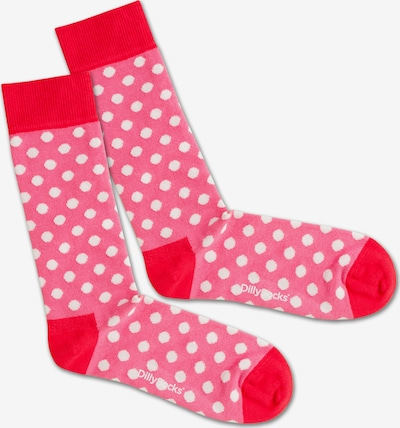 DillySocks Socken 'Pinky Dots' in pink / rot / weiß: Frontalansicht