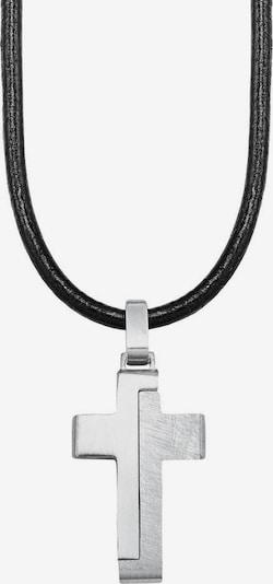 s.Oliver Kette mit Anhänger 'Kreuz' in schwarz / silber, Produktansicht