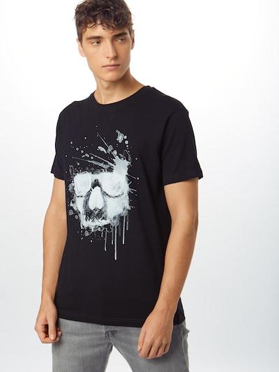 Mister Tee T-Shirt 'Waterpaint Skull Tee' in schwarz / weiß: Frontalansicht