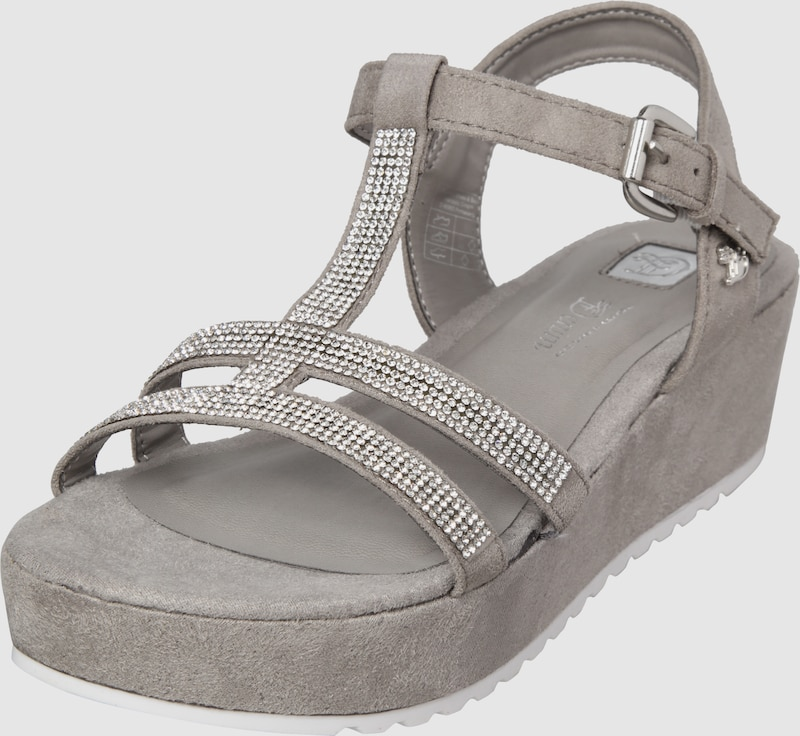 tom tailor plateau sandalen mit strasssteinen in grau. Black Bedroom Furniture Sets. Home Design Ideas