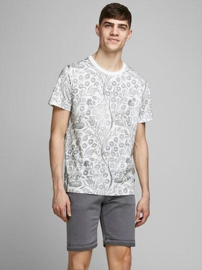 JACK & JONES Bedrucktes T-Shirt in grau / weiß: Frontalansicht