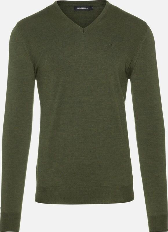 J.Lindeberg Pullover 'Newman V-Neck Perfect Merino' in oliv  Markenkleidung für Männer und Frauen