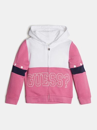 GUESS KIDS Sweatjacke in pink / weiß: Frontalansicht