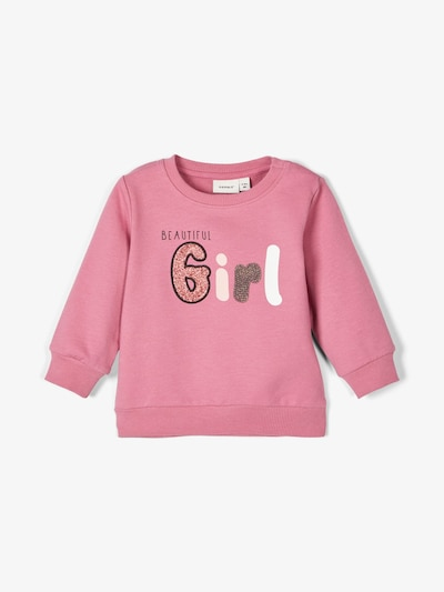 NAME IT Glitzerprint Baumwoll Sweatshirt in pink, Produktansicht