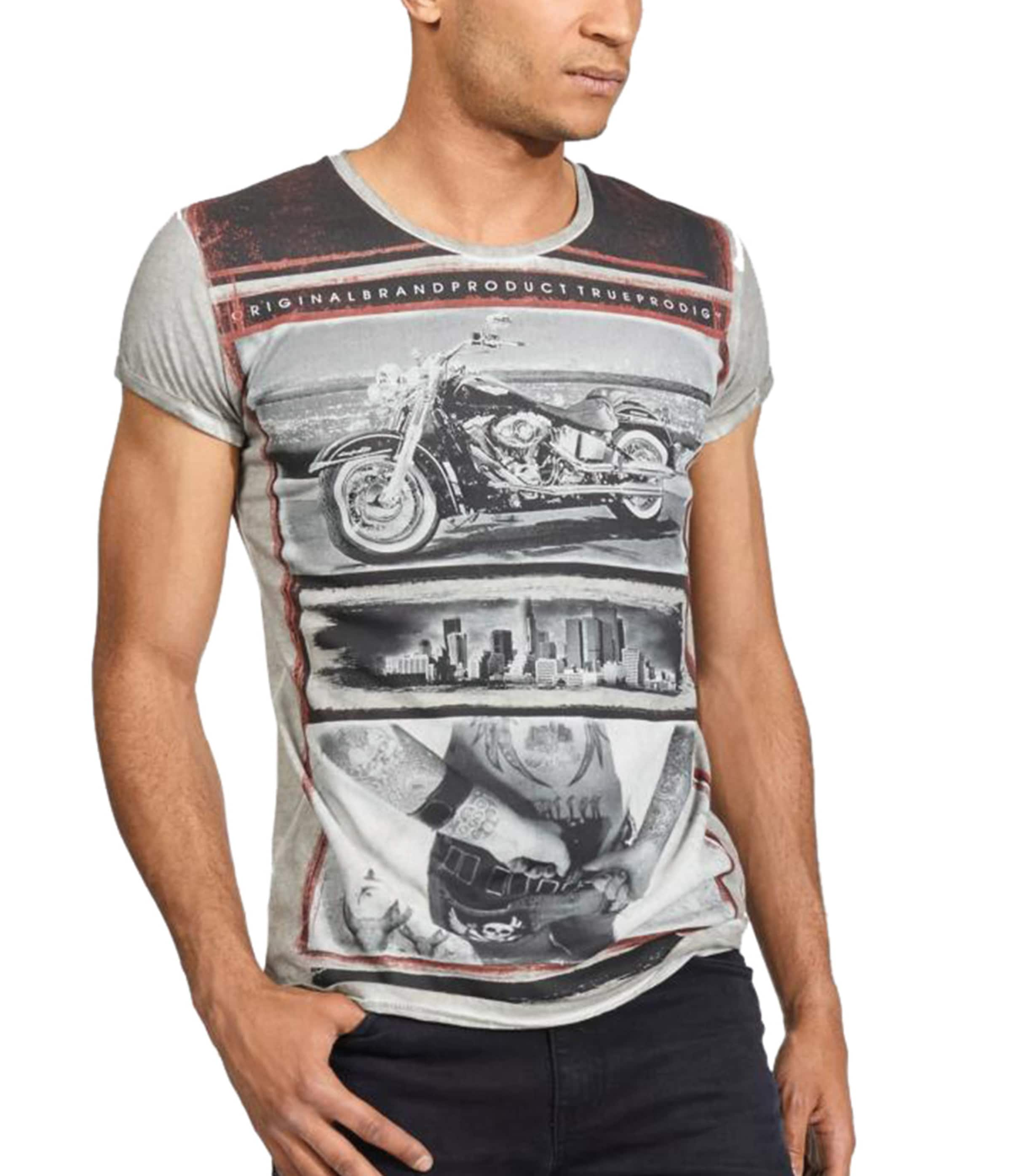 Trueprodigy T shirt GrauDunkelgrau In Pastellrot v8wym0OnN