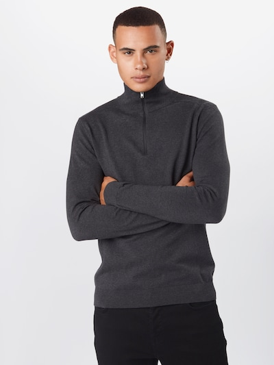 SELECTED HOMME Pullover 'Berg' in anthrazit: Frontalansicht