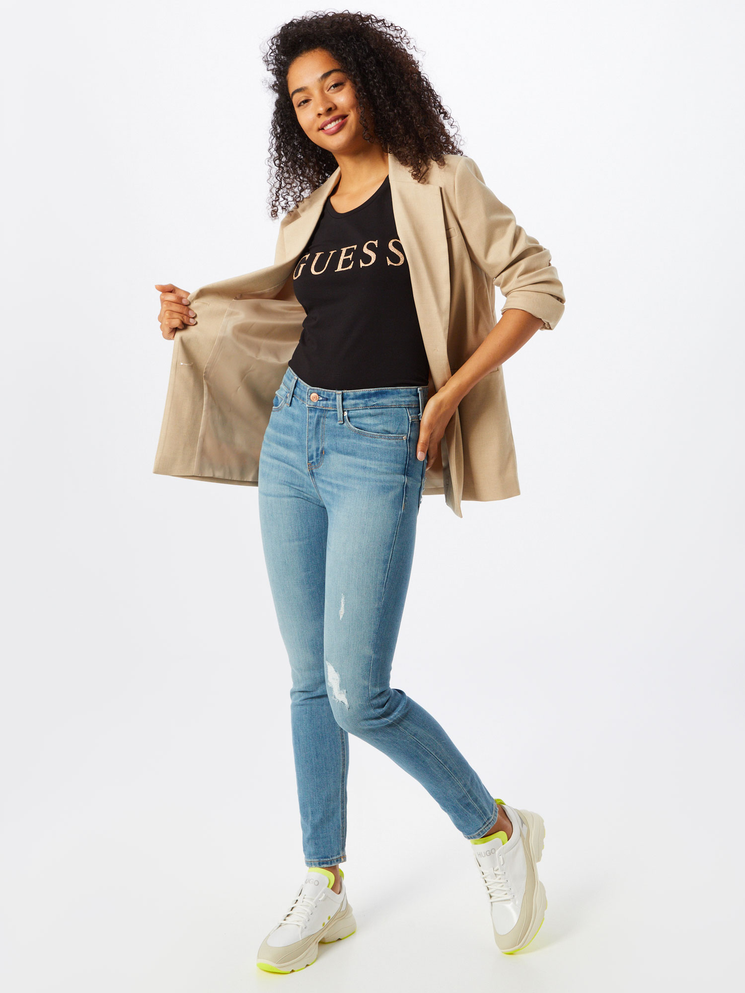 GUESS Shirt 'Angelika' in Goud / Zwart 4Vap73G9