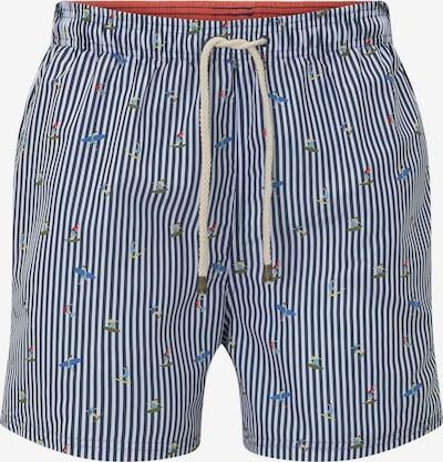 TOM TAILOR Zwemshorts in de kleur Nachtblauw / Kaki / Wit, Productweergave