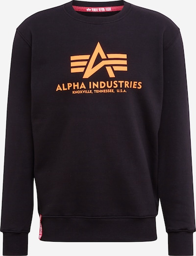 ALPHA INDUSTRIES Sweatshirt 'Basic Sweater Neon Print' in neonorange / schwarz, Produktansicht