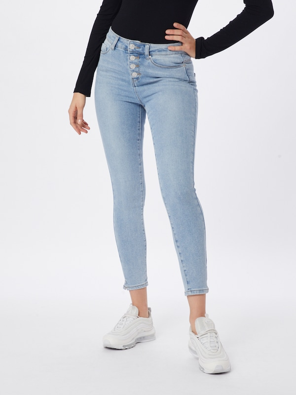 Noisy may Jeans 'NMCALLIE HW SKINNY ANKLE JEANS JJ034LB' in blue denim / hellblau, Modelansicht