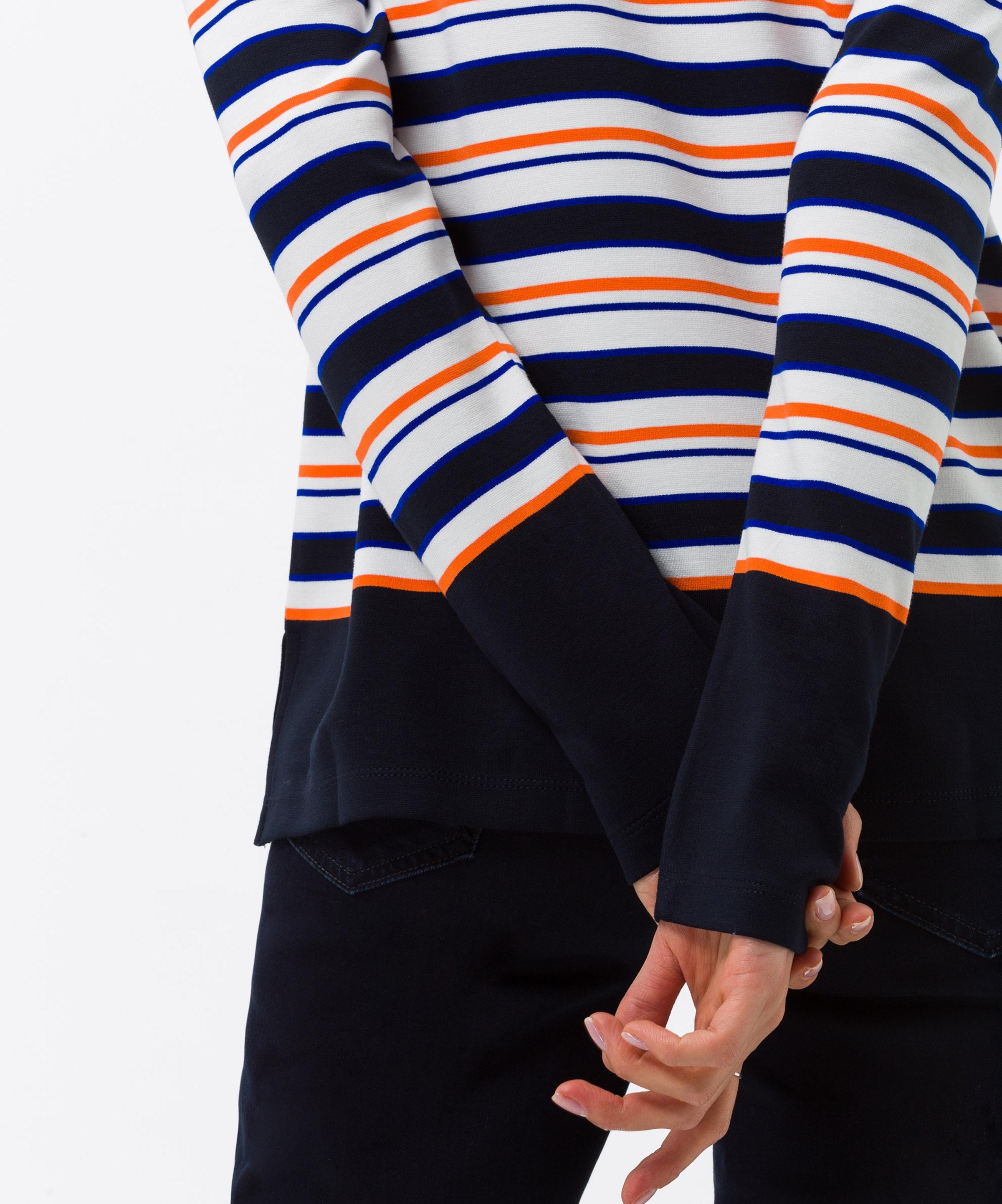 'bobbie' In BlauNachtblau Brax Shirt Weiß Dunkelorange OPw80Xnk