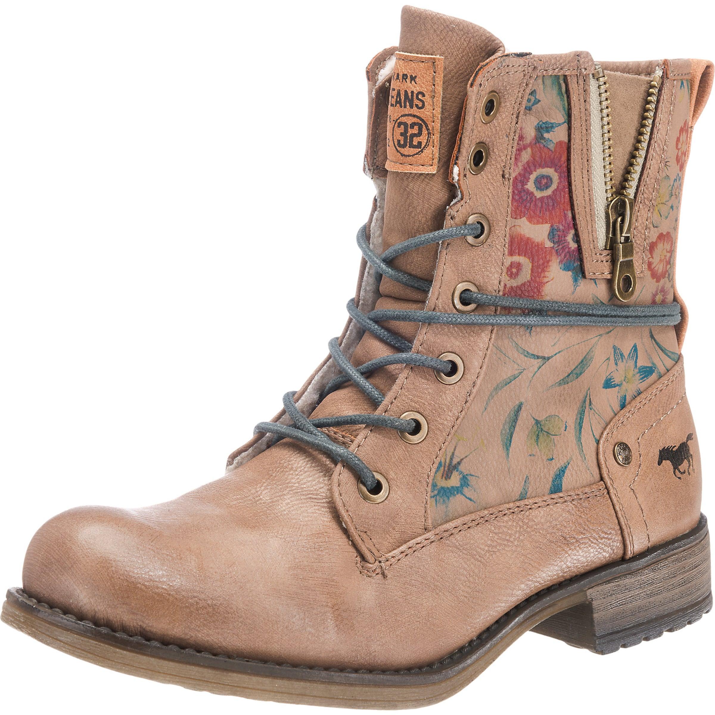 Haltbare Mode billige Schuhe MUSTANG | Schnürboots mit Blümchenprint Schuhe Gut getragene Schuhe