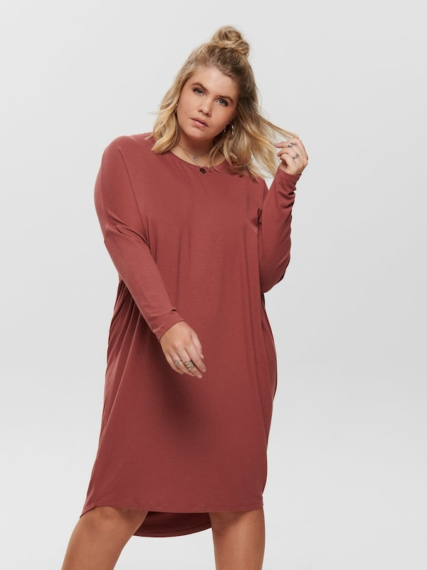 ONLY Carmakoma Kleid 'Curvy' in rostbraun: Frontalansicht