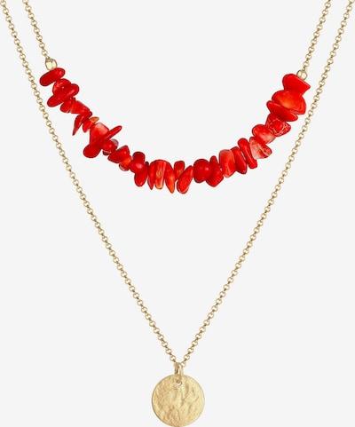ELLI Halskette Layer, Plättchen, Koralle in gold / rot, Produktansicht