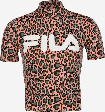 FILA Shirt 'Every AOP' in khaki / koralle / schwarz, Produktansicht