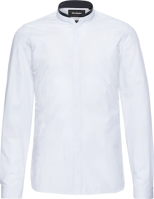 The Kooples Koszula 'OFFICER COLLAR SHIRT WITH LEATHER DETAIL AT THE COLLAR'