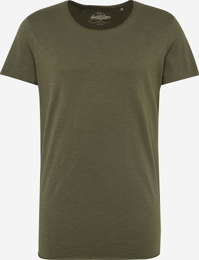 JACK & JONES T-Shirt 'JJEBAS TEE SS U-NECK NOOS' in oliv, Produktansicht