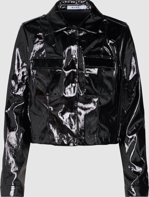 NA-KD Jacke 'Shiny Jacket' in schwarz  Große Preissenkung