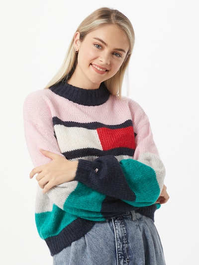 Tommy Jeans Pullover 'Bell' in nachtblau / jade / rosa / rot, Modelansicht