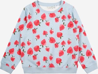 NAME IT Bluzka sportowa 'Berry' w kolorze pastelowy niebieski / różowy / białym: Widok z przodu