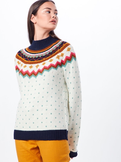 VILA Pulover 'Ennan' | turkizna / temno modra / oranžna / rdeča / bela barva: Frontalni pogled