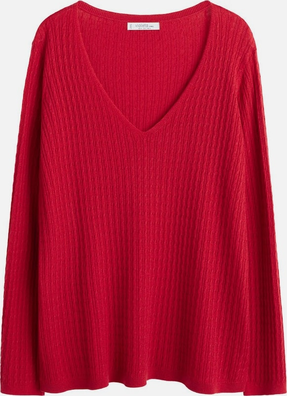 VIOLETA by Mango Pullover 'Cable' in rot, Produktansicht