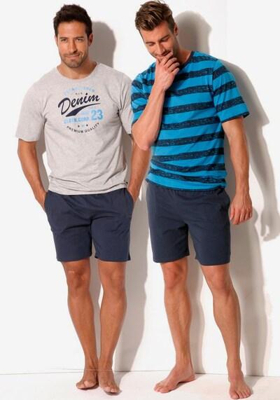 HIS JEANS Pyjamas in türkis / dunkelblau / weiß, Produktansicht