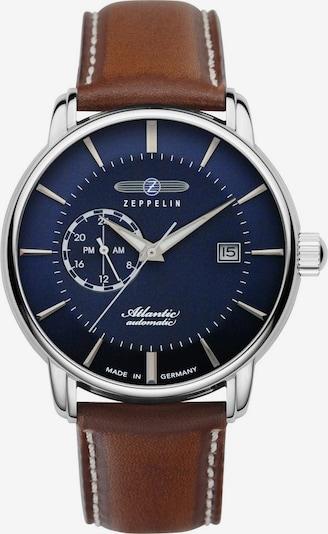 Zeppelin Uhr in dunkelblau / cognac / silber, Produktansicht