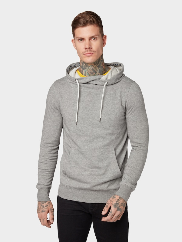 TOM TAILOR DENIM Hoodie in grau: Frontalansicht