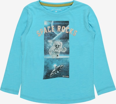 TOM TAILOR Shirt 'T-shirt placed print' in de kleur Marine / Turquoise, Productweergave