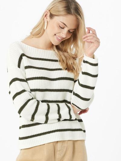 VILA Sweter 'RUSH' w kolorze ciemnozielony / białym: Widok z przodu
