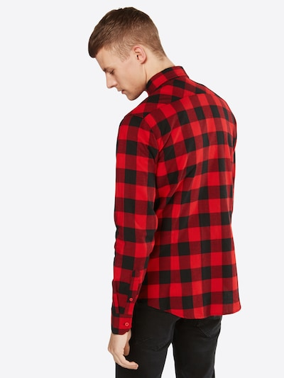 Urban Classics Hemd 'Checked Flanell' in rot / schwarz: Rückansicht