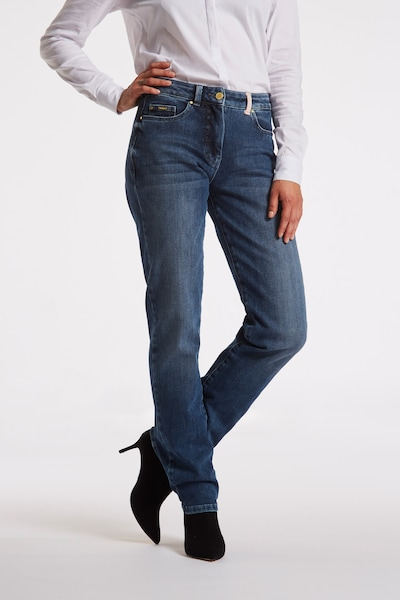 LauRie Jeans in blue denim / puder, Modelansicht