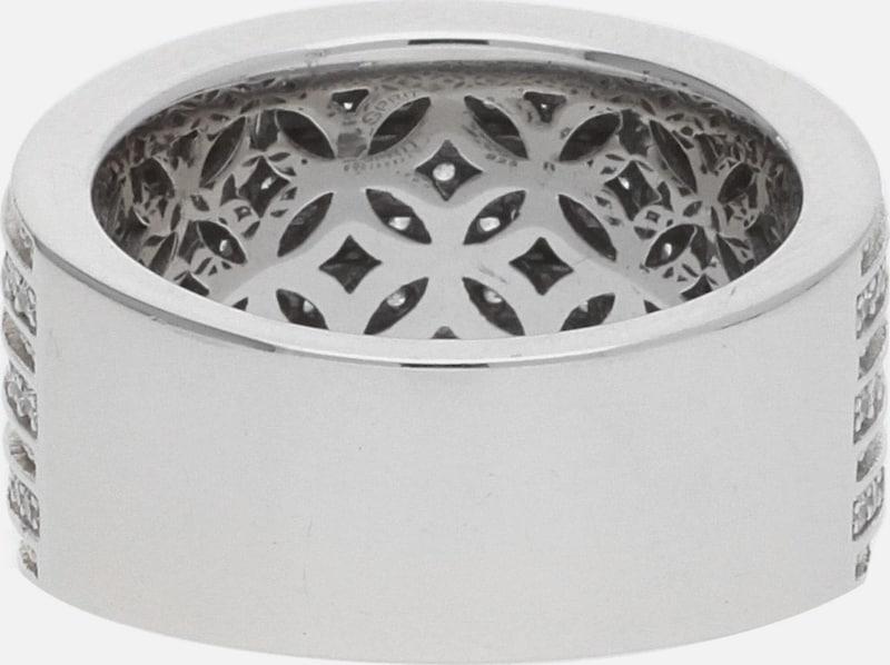 ESPRIT Breiter Metallring mit Doppelreihen und funkelndem Steinbesatz