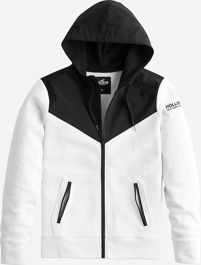 HOLLISTER Sweatjacke 'NEOPRENE' in schwarz / weiß, Produktansicht