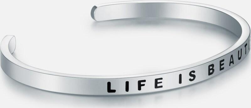 Nahla Jewels Edelstahlarmreif mit LIFE IS BEAUTIFUL-Schriftzug