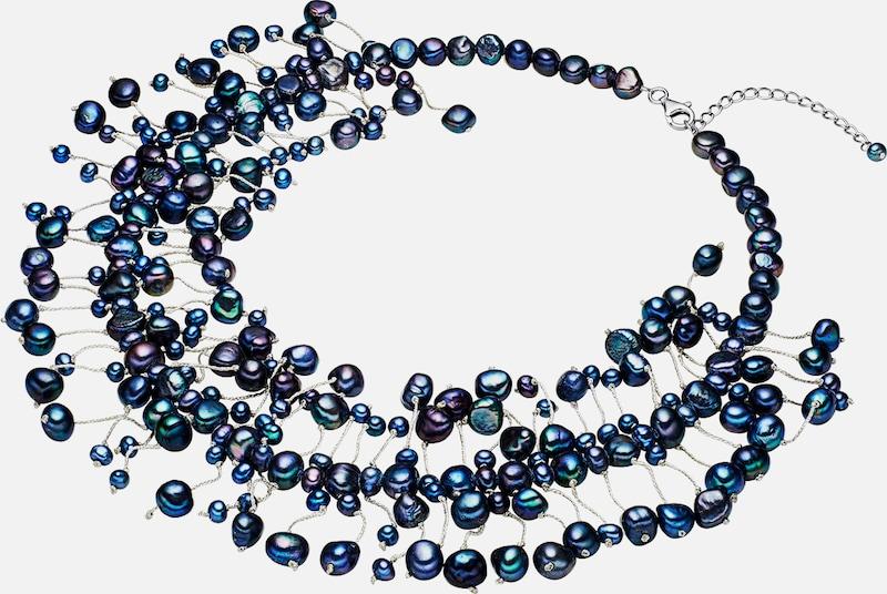 Valero Pearls Kette Süßwasser-Zuchtperlen pfauenblauhoher Glanz