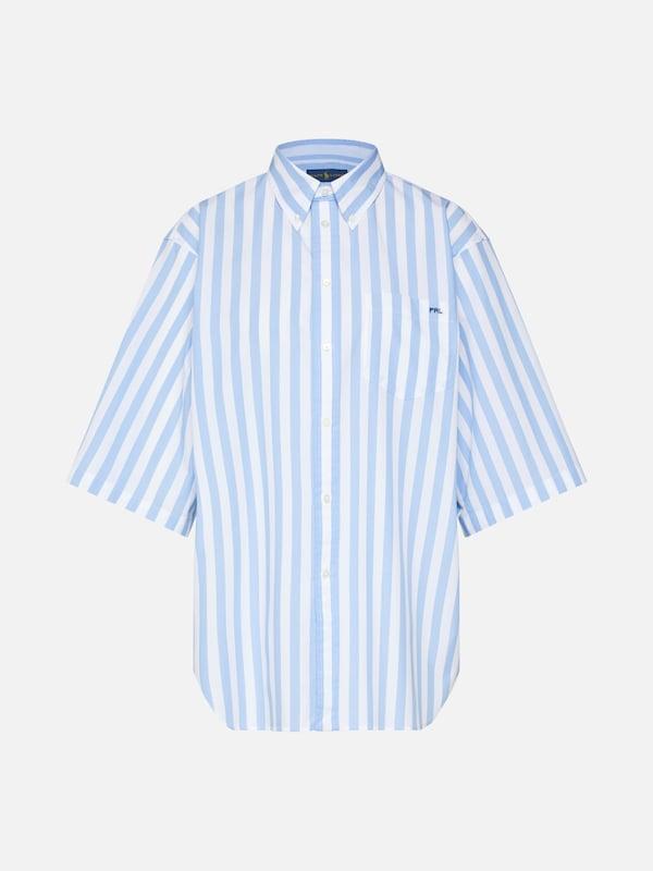 Bleu Blanc St Shirt' Polo Chemisier Long Ligh 'ss En Clair Sleeve 8nPkNw0OX