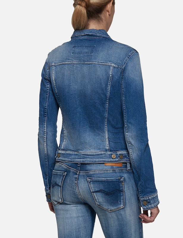 REPLAY Jeansjacke mit Used-Waschung