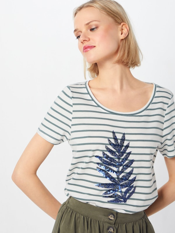 ONLY Shirt 'KITA LEAF' in grün / weiß: Frontalansicht